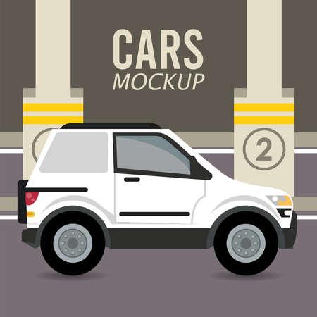 camper mockup car vehicle in parking zone icon vector illustration design Stock fotó - 155332937