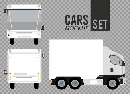 white buses and truck mockup cars vehicles icons vector illustration design Stock fotó - 155332939