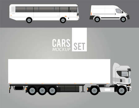 white truck and bus with mini van mockup cars vehicles icons vector illustration design Stock fotó - 155332944