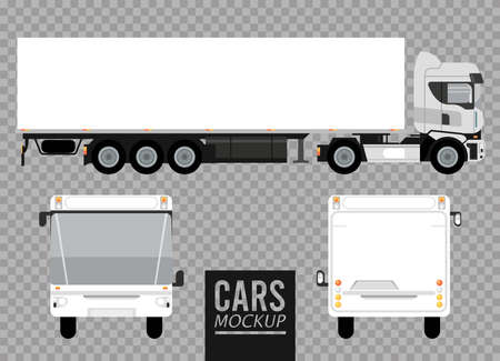 white buses and big truck mockup cars vehicles icons vector illustration design