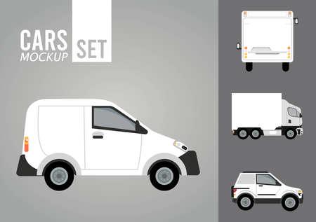 mini van white and set vehicles mockup icons vector illustration design Stock fotó - 155332950
