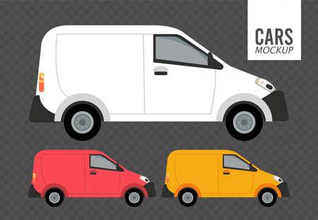 mini vans mockup cars vehicles icons vector illustration design Stock fotó - 155332952