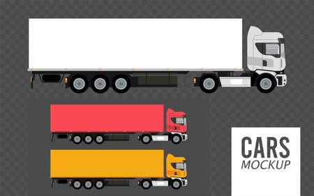set colors trucks mockup cars vehicles icons vector illustration design