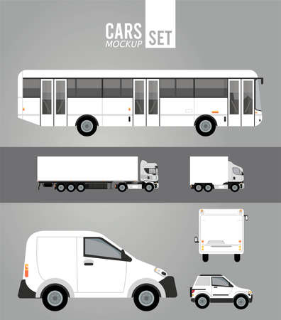 white color mockup group cars vehicles icons vector illustration design Vector Illustratie