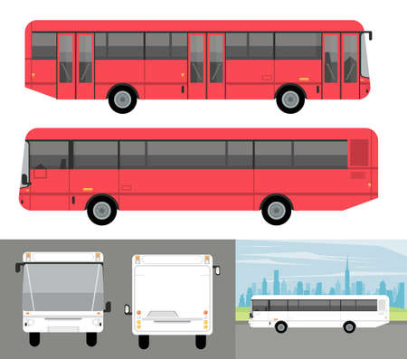 white and red buses mockup cars vehicles icons vector illustration design Stock fotó - 155332962