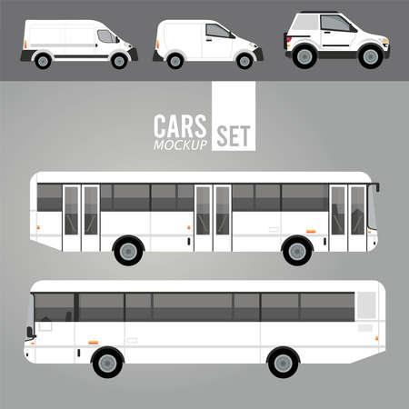 white buses and mini vans mockup cars vehicles icons vector illustration design Vecteurs