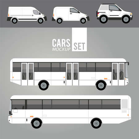 white buses and mini vans mockup cars vehicles icons vector illustration design Stock fotó - 155332968