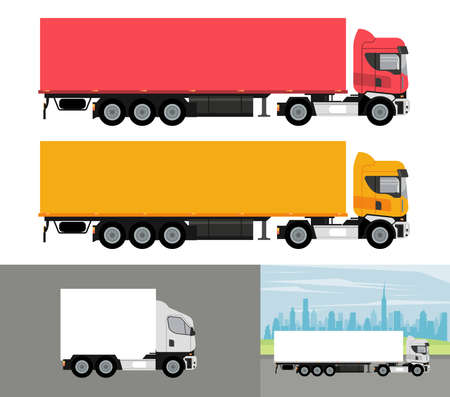 white and colors trucks mockup cars vehicles icons vector illustration design