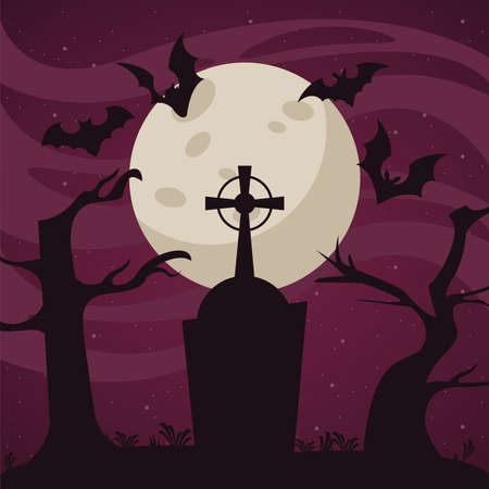 happy halloween celebration card with bats flying in cemetery vector illustration design