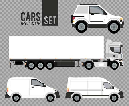 white set mockup cars vehicles icons vector illustration design Illusztráció