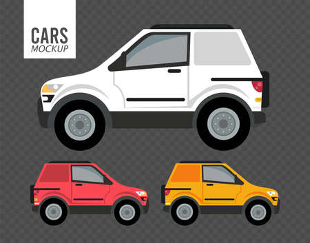 campers mockup cars vehicles icons vector illustration design Stock fotó - 155333029