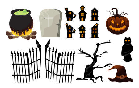 happy halloween celebration card with bundle icons vector illustration design Illusztráció