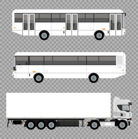 white buses and truck mockup cars vehicles icons vector illustration design Stock fotó - 155333031