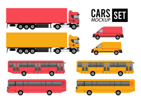 mockup set colors cars vehicles transport icons vector illustration design Stock fotó - 155343071