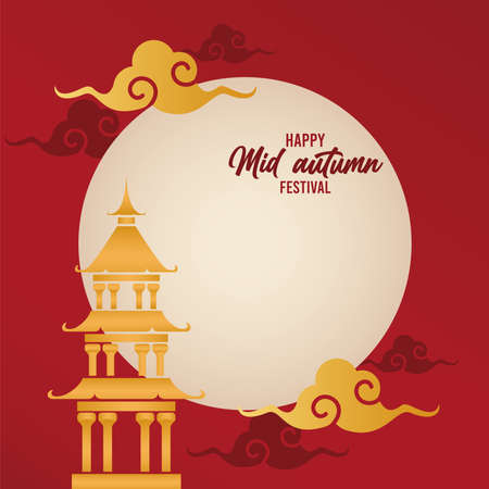 happy mid autumn lettering card with chinese castle and moon vector illustration design
