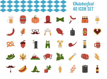 bundle of fourty oktoberfest set icons vector illustration design