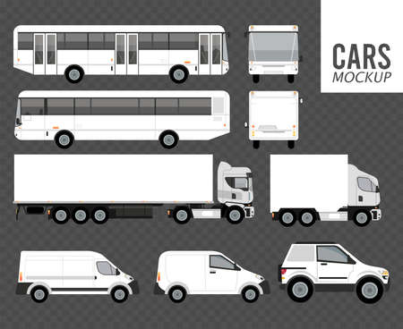white color mockup group cars vehicles in gray background vector illustration design