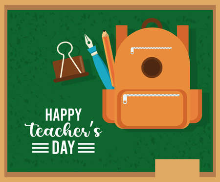 happy teachers day card with schoolbag in chalkboard vector illustration design