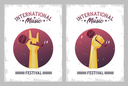 international music festival poster with hands lifting microphones frames vector illustration design