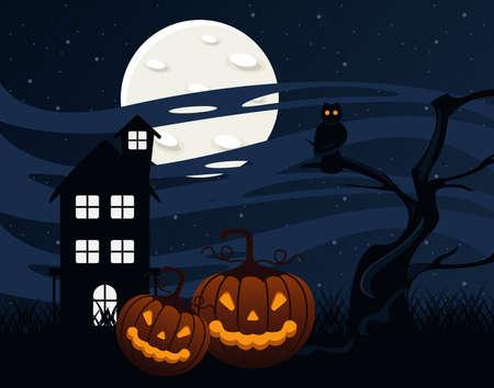 happy halloween celebration card with haunted house and pumpkins vector illustration design Illusztráció