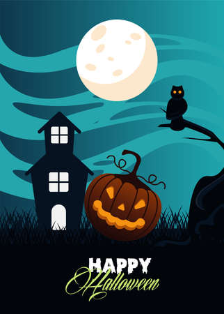 happy halloween celebration card with haunted house and pumpkin scene vector illustration