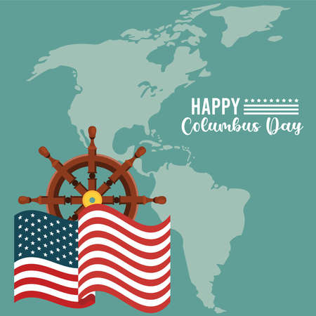 happy columbus day celebration with ship rudder and american continent map vector illustration design