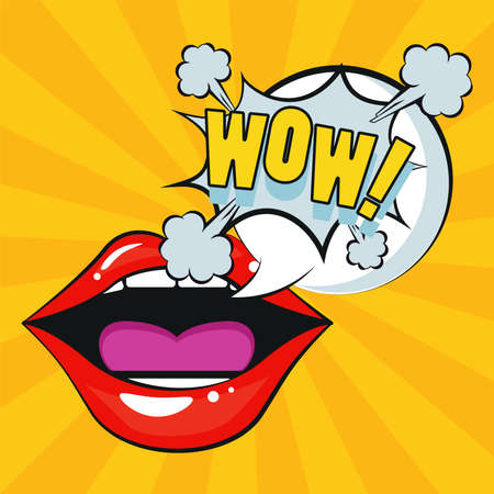 sexi female mouth with wow expression pop art style vector illustration design