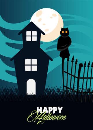 happy halloween celebration card with haunted house and owl scene vector illustration design Illusztráció