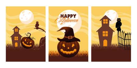 happy halloween celebration card with pumpkins and haunted house scenes vector illustration Illusztráció