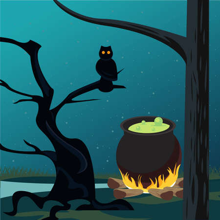 happy halloween celebration card with cauldron and owl scene vector illustration design