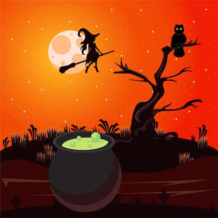 happy halloween celebration card with cauldron and witch flying vector illustration design Illusztráció