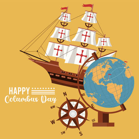 happy columbus day celebration with ship and world map vector illustration design 矢量图像