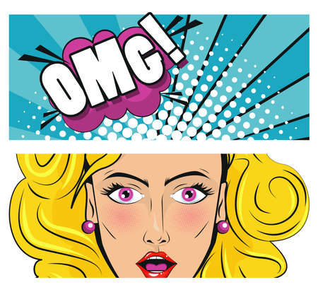 beautiful blond woman with omg word pop art style poster vector illustration design