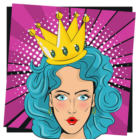 beautiful woman with blue hair and queen crown pop art style vector illustration design