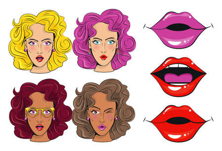 group of beautiful girls characters and sexi mouths pop art style poster vector illustration design
