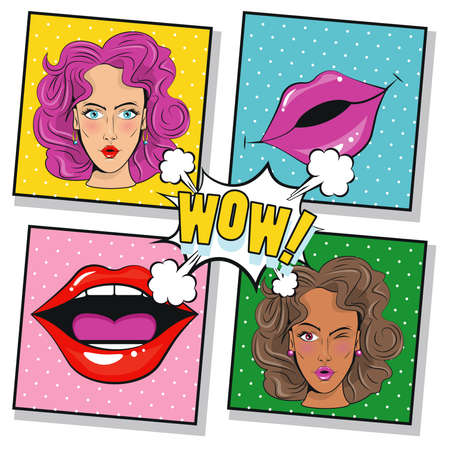beautiful girls characters and mouths pop art style poster vector illustration design