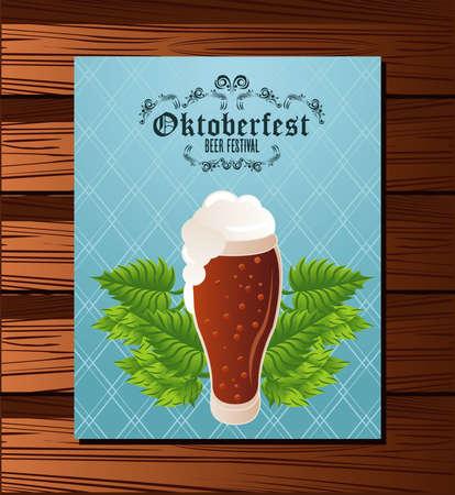 oktoberfest celebration festival poster with beer glass in wooden background vector illustration design