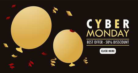 cyber monday holiday poster with golden balloons helium and lettering vector illustration design Stock fotó - 155371013