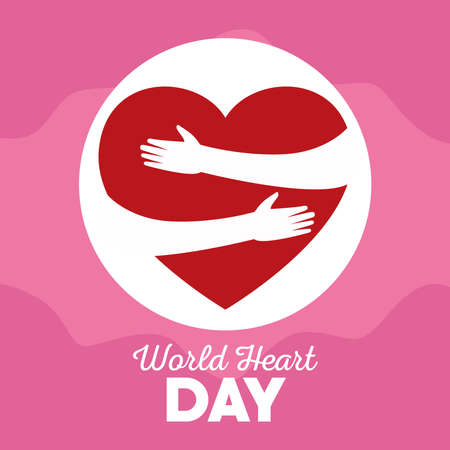 world heart day lettering with heartshaped earth vector illustration design