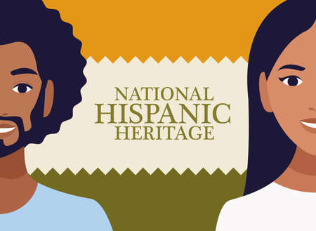 national hispanic heritage celebration with couple and lettering vector illustration design Illustration