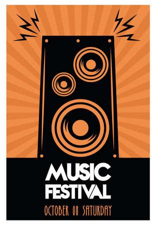 music festival poster with speaker in orange background vector illustration design