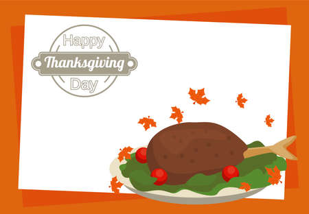 happy thanksgiving day poster with turkey food in dish vector illustration design
