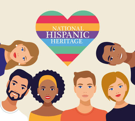 national hispanic heritage celebration with people and lettering in heart vector illustration design
