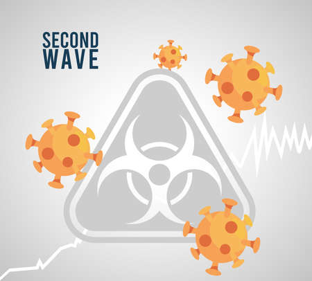 covid19 virus pandemic second wave poster with bioshazard sign and particles vector illustration design