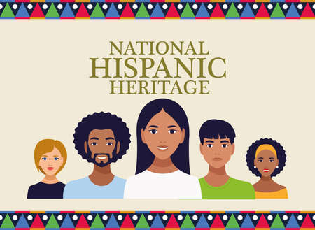 national hispanic heritage celebration with people and lettering vector illustration design