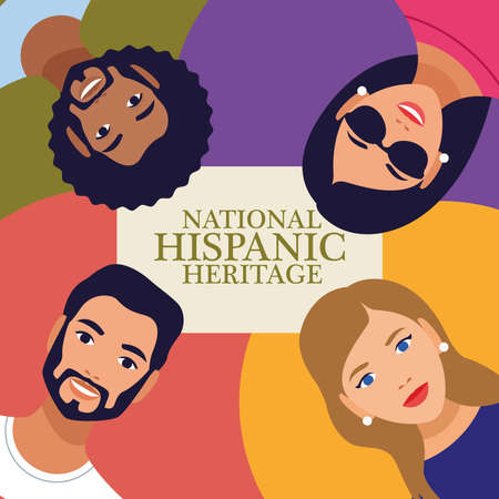 national hispanic heritage celebration lettering with people in square frame vector illustration design Çizim