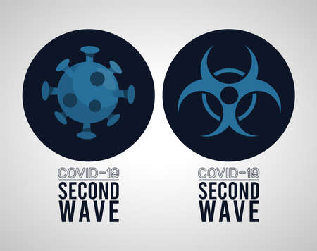 covid19 virus pandemic second wave poster with particle and biosafety sign vector illustration design