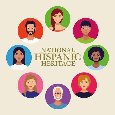 national hispanic heritage celebration lettering with people in circular frame vector illustration design