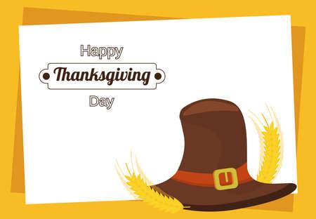 happy thanksgiving day poster with pilgrim hat vector illustration design Иллюстрация