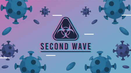 covid19 virus pandemic second wave poster with particles and biohazard sign vector illustration design